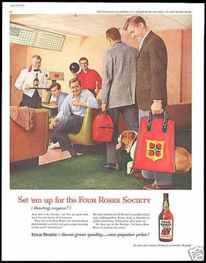 Four Roses Whiskey Bowling Bag Bulldog Alley (1960)