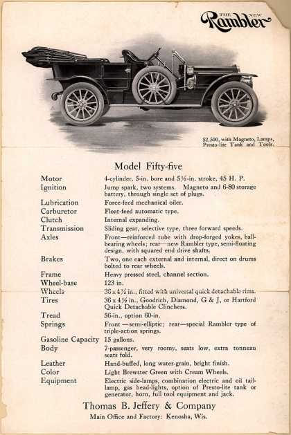 Thomas B. Jeffery & Company's Model Fifty-Five – The New Rambler
