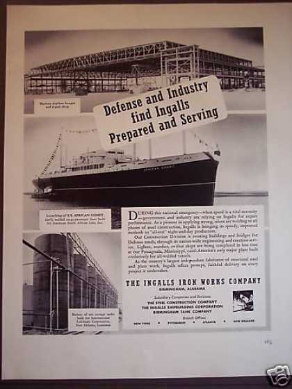 Ship Building Wwii Defence Ingalls Iron Works (1941)