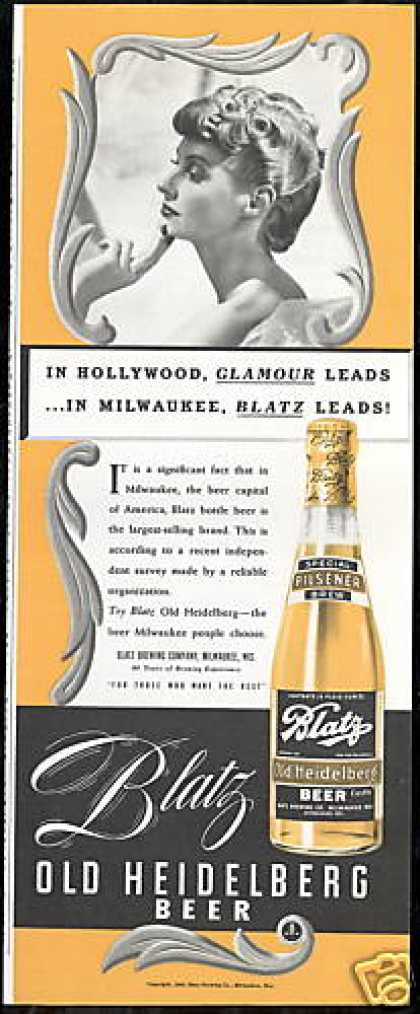 Blatz Old Heidelberg Beer Milwaukee (1940)