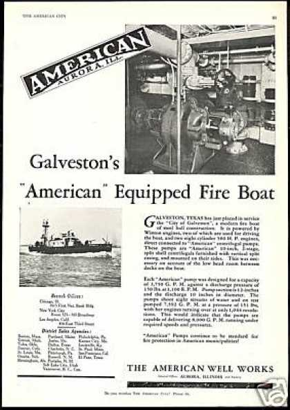 Galveston Texas American Pumps Fire Boat (1930)