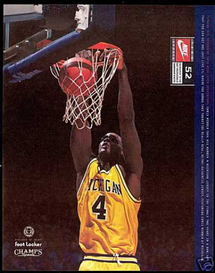 Chris Webber Basketball Michigan Nike Sports (1994)