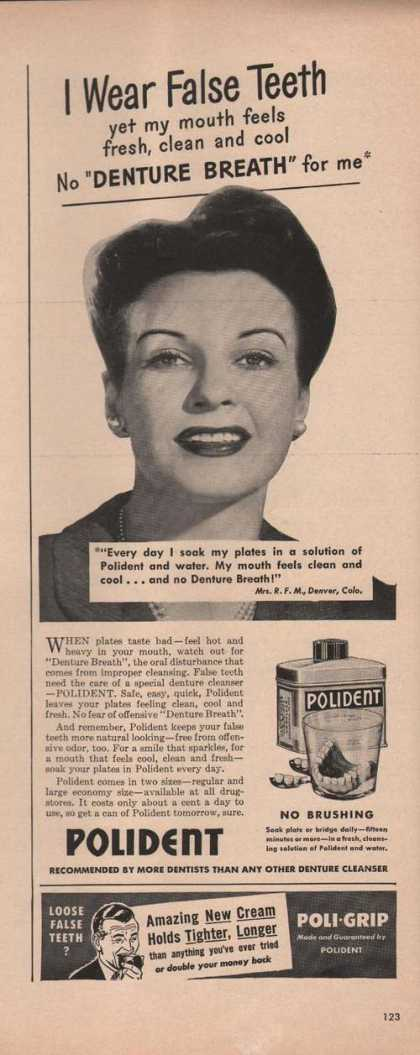 I Wear False Teeth Pokident Denture Cleane (1949)