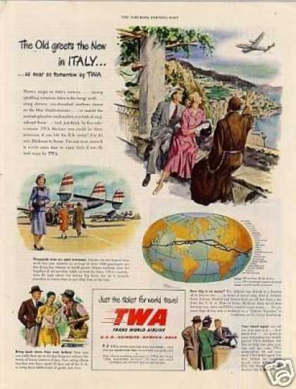 "Twa Ad ""The Old Greets the New In Italy... (1948)"