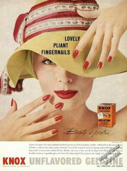 Knox Gelatine Lovely Pliant Fingernails Promo (1958)
