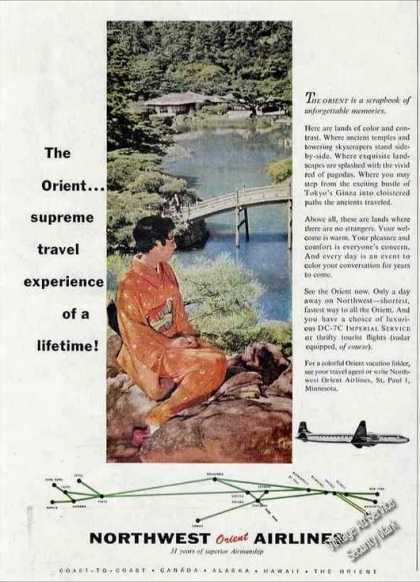 Northwest Orient Airlines Ad With Routemap (1957)