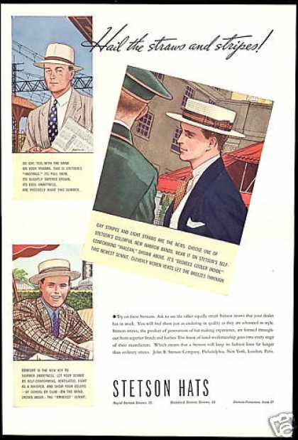 Stetson Straw Hats 3 Art Illustrated Vintage (1937)