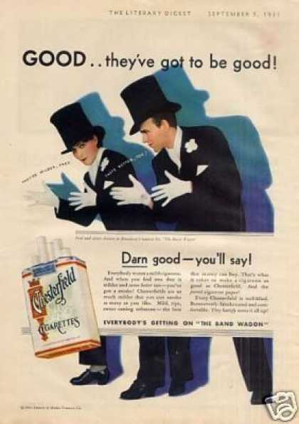 Chesterfield Cigarettes Ad Fred & Adele Astaire (1931)