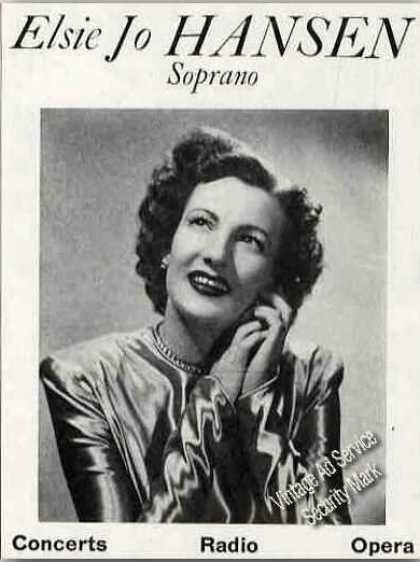 Elsie Jo Hansen Photo Soprano Trade (1949)