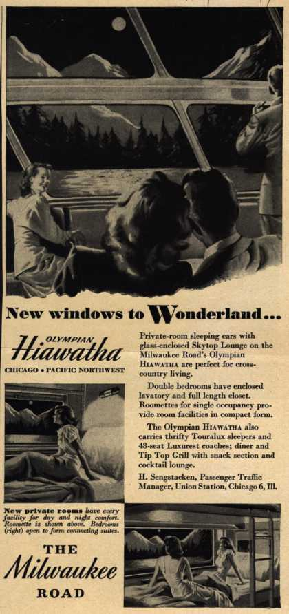Milwaukee Road's Passage aboard the Olympian Hiawatha – New windows to Wonderland (1949)