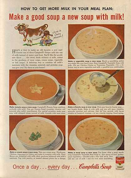 "Campbell's ""How to get more milk in your meal plan:"" (1956)"