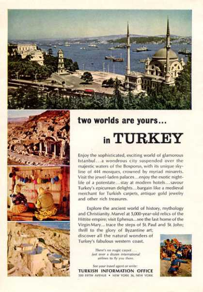 Turkish Info Office Travel Turkey Istanbul (1964)