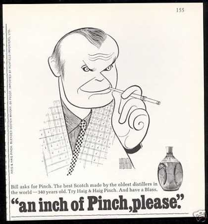 Bill Blass Hirschfeld Art Pinch Scotch (1967)