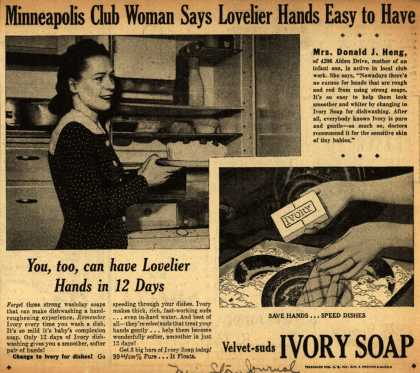 Procter & Gamble Co.'s Ivory Soap – Minneapolis Club Woman Says Lovelier Hands Easy to Have (1942)