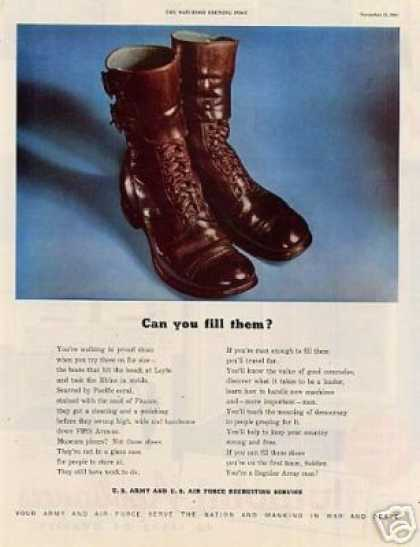 "U.s. Army Recruiting Ad ""Can You Fill Them.. (1947)"
