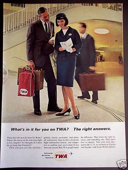 Twa Airline Stewardess Helps Passenger Photo (1964)