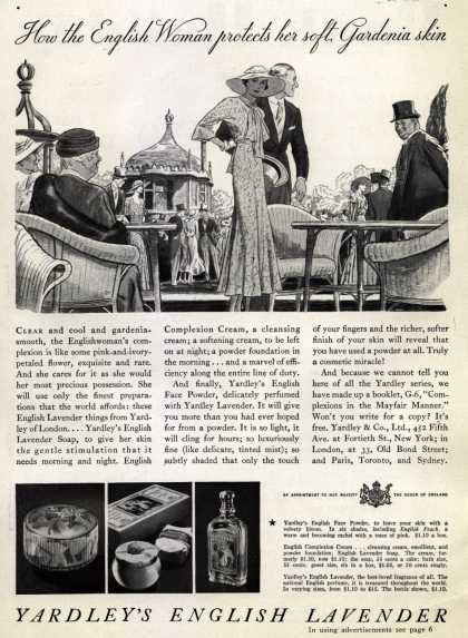 Yardley & Co., Ltd.'s English Lavender Cosmetics – How the English Woman protects her soft, Gardenia skin (1933)