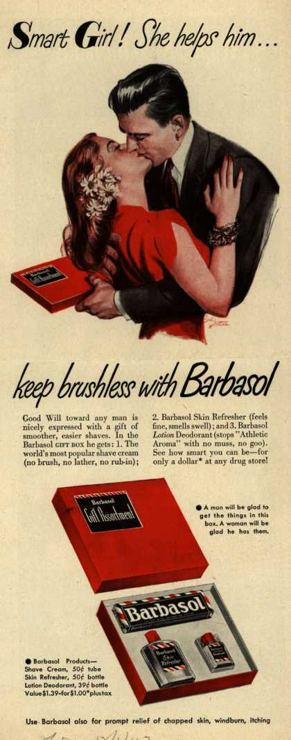 Barbasol – Smart Girl! She helps him... keep brushless with Barbasol (1947)