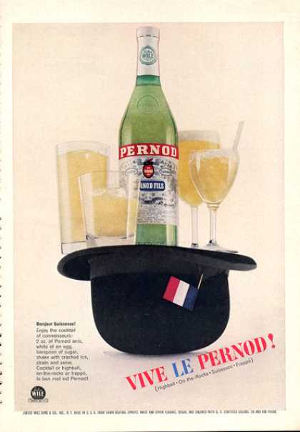 Vive Le Pernod Cocktail Print Hat French (1962)