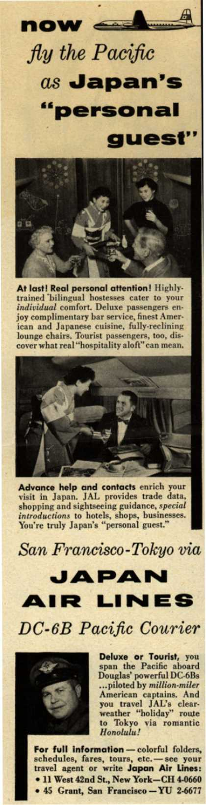 "Japan Air Line's San Francisco to Tokyo – Now fly the Pacific as Japan's ""personal guest"" (1954)"