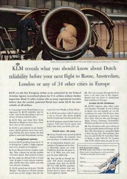 Klm Royal Dutch Inspector Inside Engine (1962)