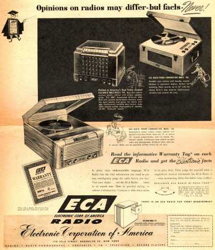 Electronic Corporation of America's Various – Opinions on radios may differ – but facts – Never (1946)