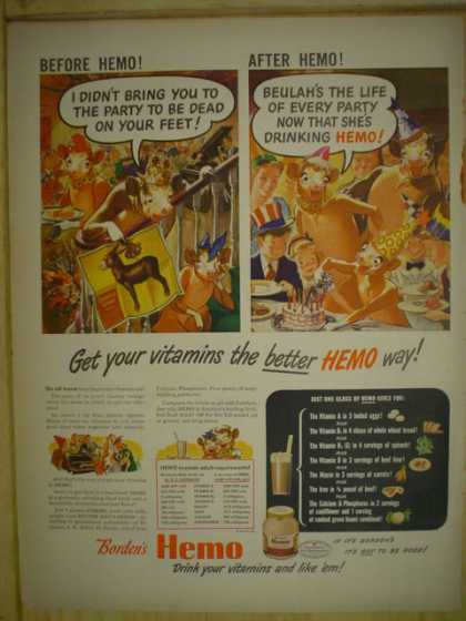Bordens Hemo. Get your vitamins the Hemo way (1945)