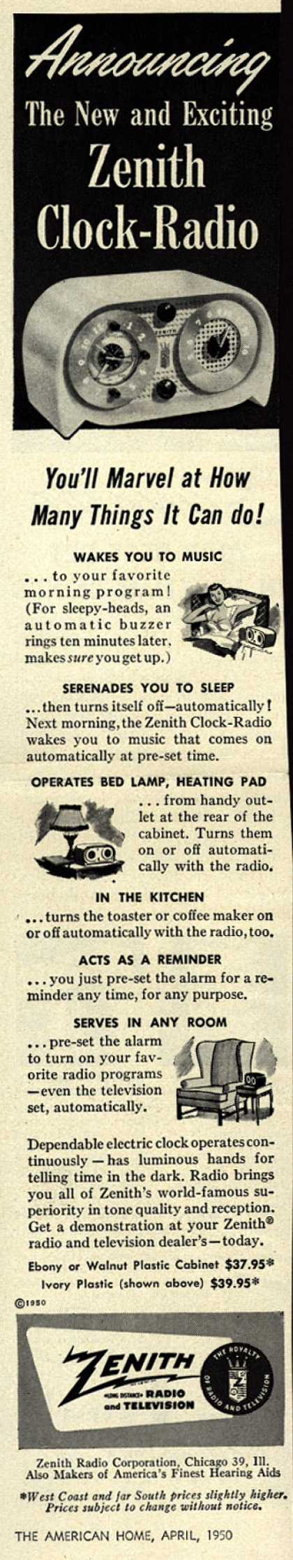 Zenith Radio Corporation's Clock-Radio – Announcing The New and Exciting Zenith Clock-Radio (1950)