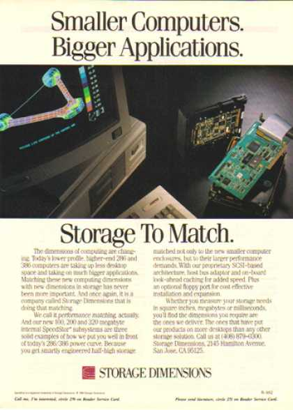 Storage Dimensions – Smaller Computers Bigger Applications (1990)