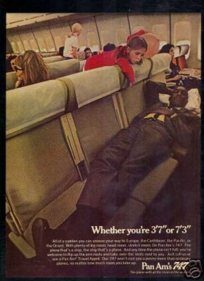 Pan Am 747 Snooze to Europe Airlines Plane (1970)