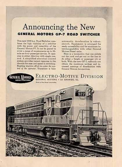 "Gm/emd Locomotive Ad ""New"" Gp-7 (1950)"