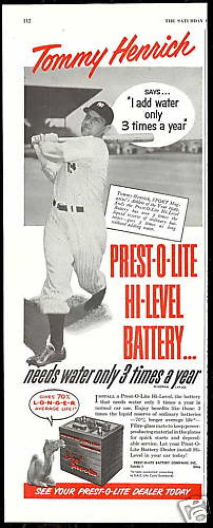 Baseball Tommy Henrich Prest-O-Lite Battery (1950)