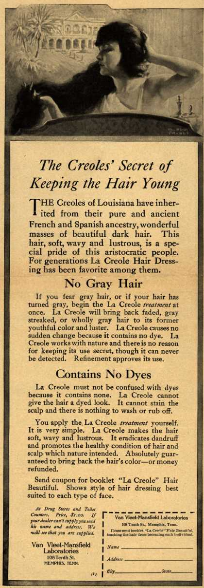 Van Vleet-Mansfield Laboratorie's La Creole Hair Dressing – The Creoles' Secret of Keeping the Hair Young (1919)