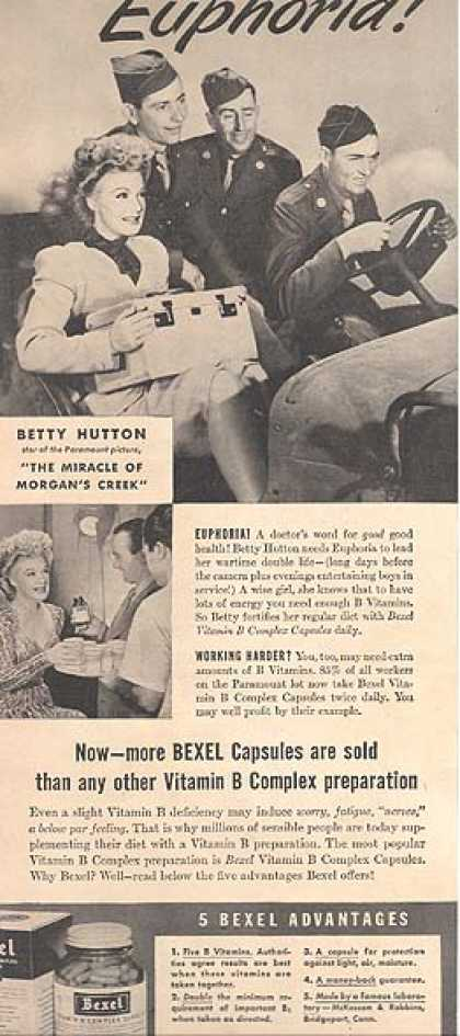Bexel Vitamin B Complex Capsules – Betty Hutton (1944)