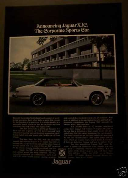White Jaguar Xjc Car Original Automobile (1975)