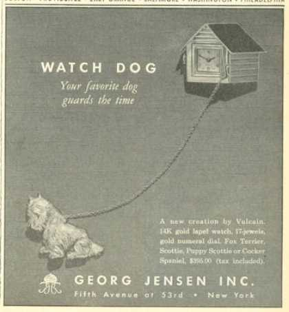 Georg Jensen Scottie Gold Lapel Watch Dog (1945)