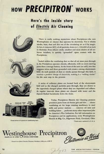 Westinghouse Electric & Manufacturing Company's Precipitron Electric Air Cleaning – How Precipitron Works (1943)