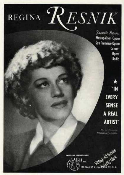 Regina Resnik Photo Opera Concert Radio Trade (1949)