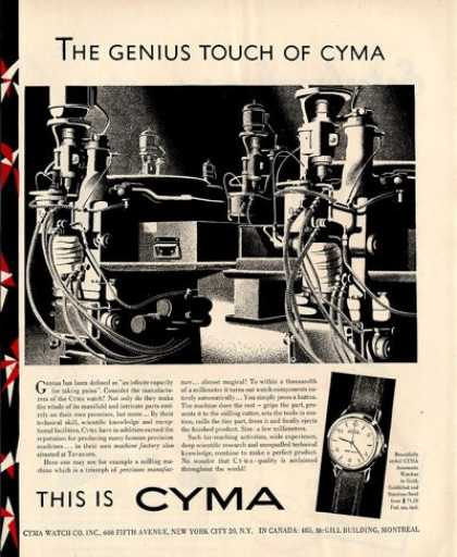 Cyma Watch Machine Factory Tavannes (1950)