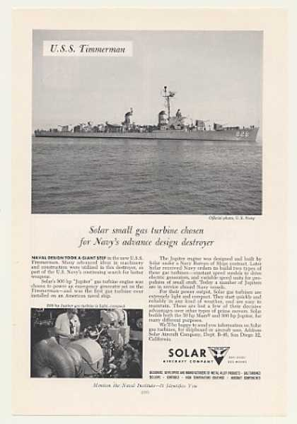 '55 Navy USS Timmerman Ship Solar Gas Turbine Engine (1955)