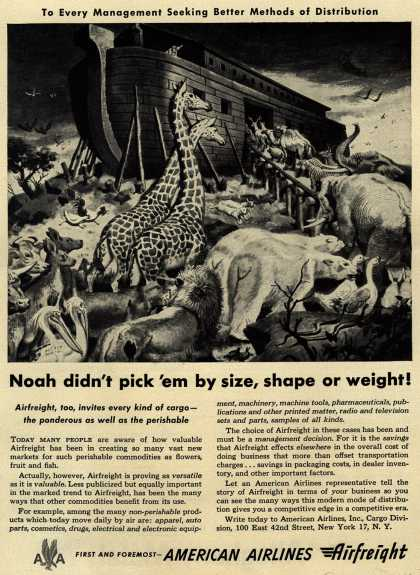 American Airline's Airfreight – Noah didn't pick 'em by size, shape or weight (1950)