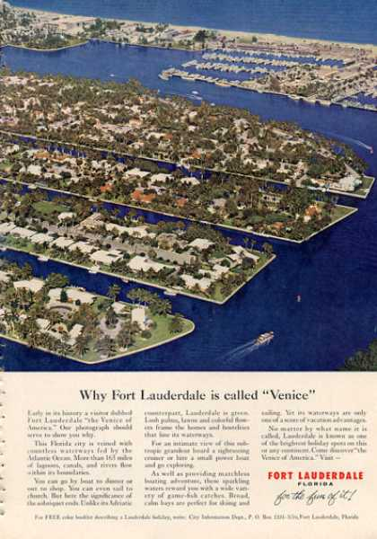 Fort Lauderdale Florida Vacation Ad Little Venice (1962)