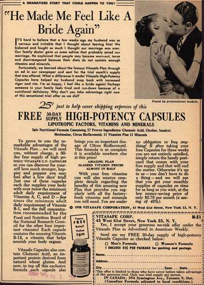 "Vitasafe Corporation's Vitasafe C. F. Capsules – ""He Made Me Feel Like A Bride Again"" (1958)"