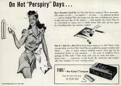"Kotex Company's FIBS, The Kotex Tampon – On Hot ""Perspiry"" Days... (1941)"
