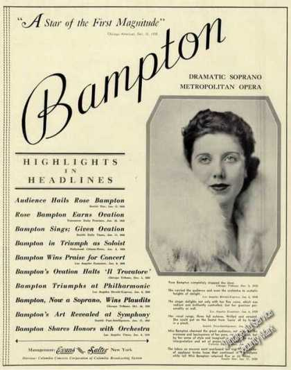 Rose Bampton Photo Opera Rare (1939)