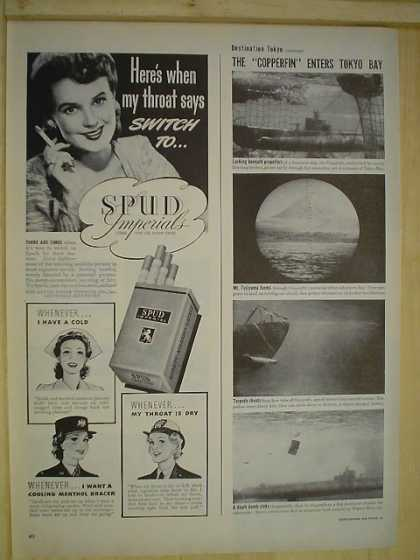 Spud Imperials Cigarettes Throat says switch to .. (1944)