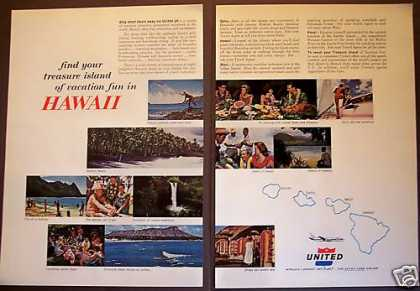United Airlines Hawaii Vacation Travel 2 Pg (1962)