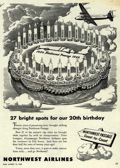 Northwest Airlines – 27 bright spots for our 20th birthday (1946)