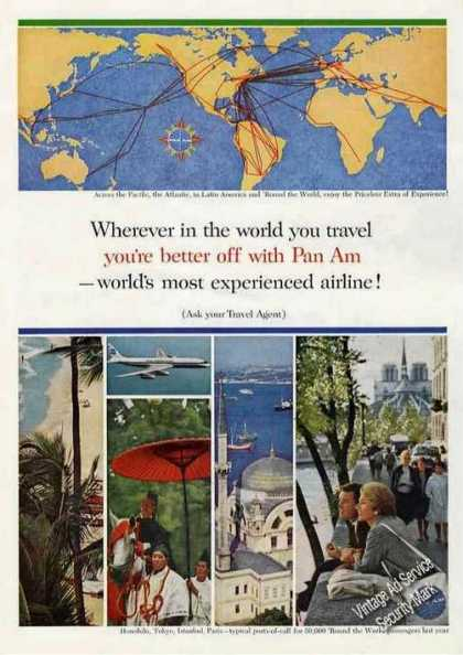 Pan Am World Route Map Color Photos Travel (1963)
