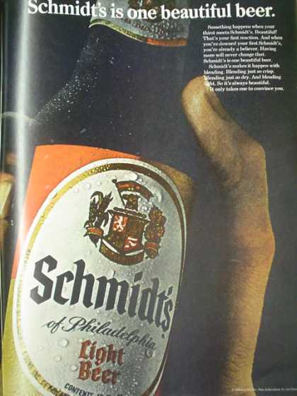 Schmidt's light beer It only takes one to convince you 2 pg (1968)